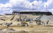 Crushing on-site for the construction of the New England Patriots Gillette/CMGI stadium.